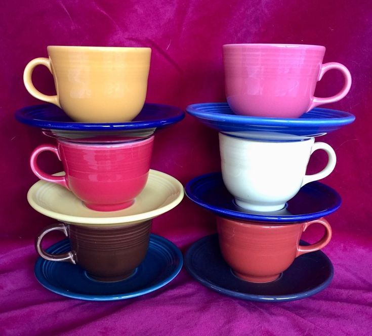 P86 Fiesta Ware TEA CUP and SAUCER 6 mixed-color sets #Fiestaware #teacup