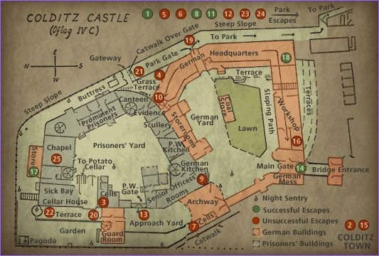 "Map of Colditz Castle. It gained international fame as a prisoner-of-war camp during World War II for ""incorrigible"" Allied officers who had repeatedly escaped from other camps."