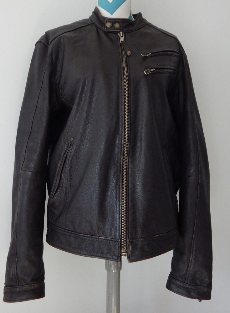Jimmy'z Black Leather Motorcycle Jacket Lg Moto Distress Vtg Bomber Coat Jimmy Z #JimmyZ #Motorcycle