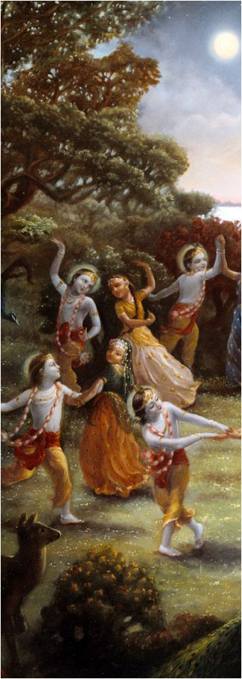 From Vedic literature it appears that when a theatrical actor dances among many dancing girls, the group-dance is called a rāsa dance. When Kṛṣṇa saw the full moon night of the śarat season, He decorated Himself with various seasonal flowers, especially the mallikā flowers, which are very fragrant, He remembered the gopīs' prayers to goddess Kātyāyanī, wherein they prayed for Kṛṣṇa to be their husband. He thought that the full night of the śarat season was just suitable for a nice dance. So…