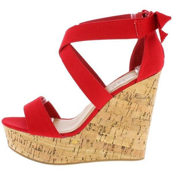 CHARADE64M RED CANVAS CUTE FASHION WOMEN'S WEDGES ONLY $10.88 ($11) ❤ liked on Polyvore featuring shoes, canvas shoes, flat pump shoes, red canvas shoes, red shoes and canvas flats