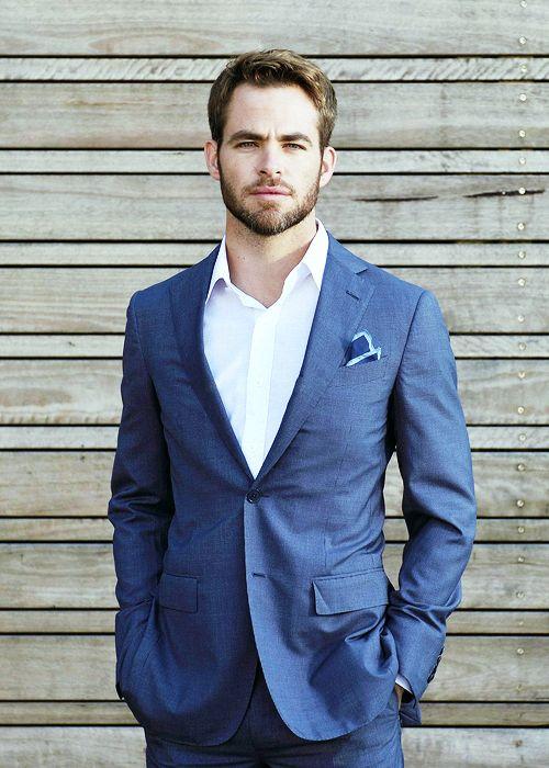 blue linen suit. white oxford. blue pocket square w/light blue trim. dapper. Chris Pine....suave bastard. summer. comfortable. style.