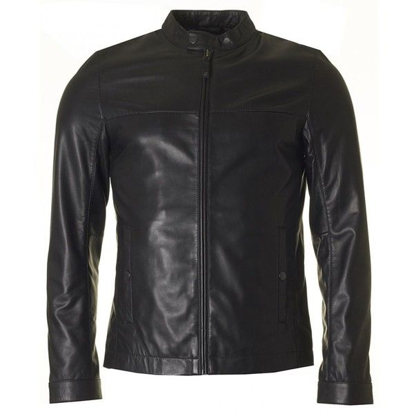 Ted Baker Lapeer Leather Biker Jacket ($230) ❤ liked on Polyvore featuring men's fashion, men's clothing, men's outerwear, men's jackets, black, ted baker mens jacket, mens short jacket, mens leather jackets, mens leather moto jacket and mens leather biker jacket