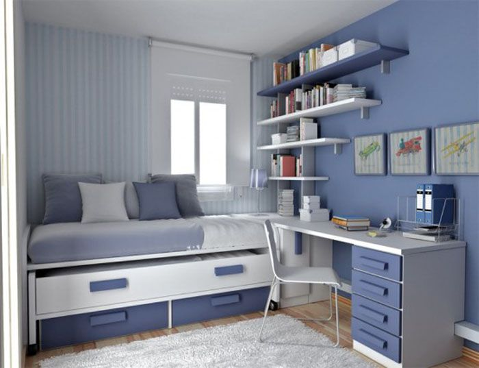 modern teen boys bedroom furniture for small room with blue scheme