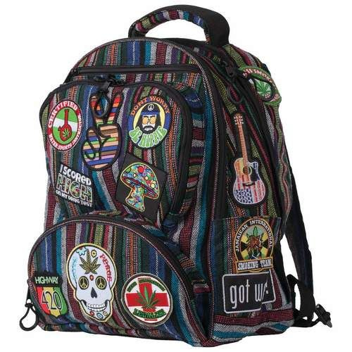 """Highway 420™ 17"""""""" HIPPIE BACKPACK WITH 15 EMBROIDERED PATCHES"""