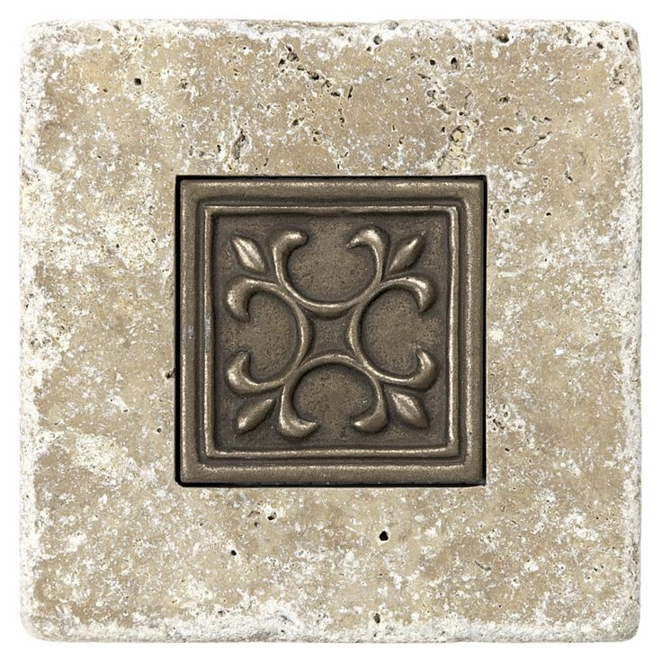 4in x 4in noce with metal natural stone square accent tile