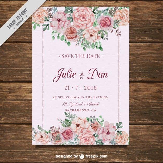 carte de mariage avec des fleurs sur fond rose Vecteur gratuit