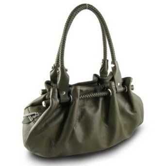 Braided Satchel Hobo Handbag (Dark Green),