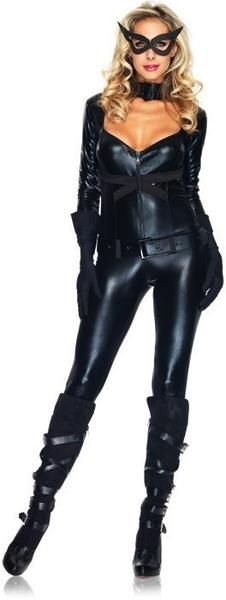 #85015 Join Batman in protecting Gotham this Halloween as Cat Girl. The Cat Girl Costume includes a black zipper front jumpsuit with strappy back. A black belt,