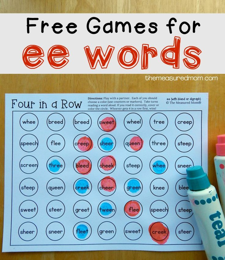 "It's time for more free reading games! I've been creating a huge variety of games and activities as I help my Five master common phonics patterns.  Today I'm sharing his favorite game – Four in a Row.  This time we're working on ""ee"" words. As far as phonics patterns go, ""ee"" is one of the easier ones to remember.  For the first game board, we took turns reading ""ee"" words and... Read More »"