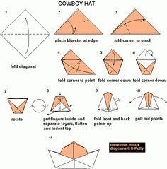 Paper Craft, Folded Hat, Paper Hats, Cowboy Hats, Da Cowboy, 100 Cowboy