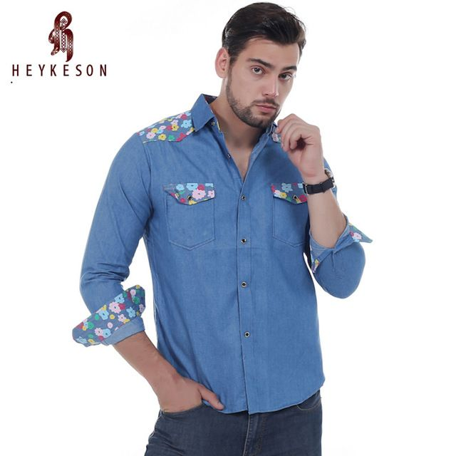 Check current price HEYKESON Men Shirt Brand 2017 Male Long Sleeve Shirts Casual Mens Floral Stitching Slim Fit Dress Shirts Mens  2XL FSVF just only $11.41 with free shipping worldwide  #shirtsformen Plese click on picture to see our special price for you