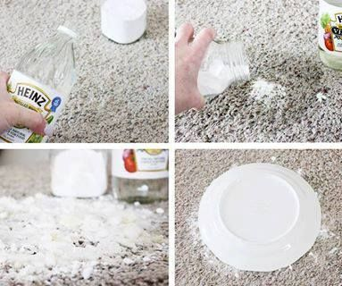 Get rid of pet accidents. Use vinegar and baking soda. The steps are the important part. Pour enough vinegar to soak the stain and THEN add a small amount of baking soda. Will not work in reverse. The right way will clean and deoderize without leaving residue. Let spot dry for a day or two. Then sweep and vacuum. We cover the spot with a bowl or plate so that we don't have baking soda everywhere. You can actually see the stain being absorbed up into the baking soda. Works on old stains too!