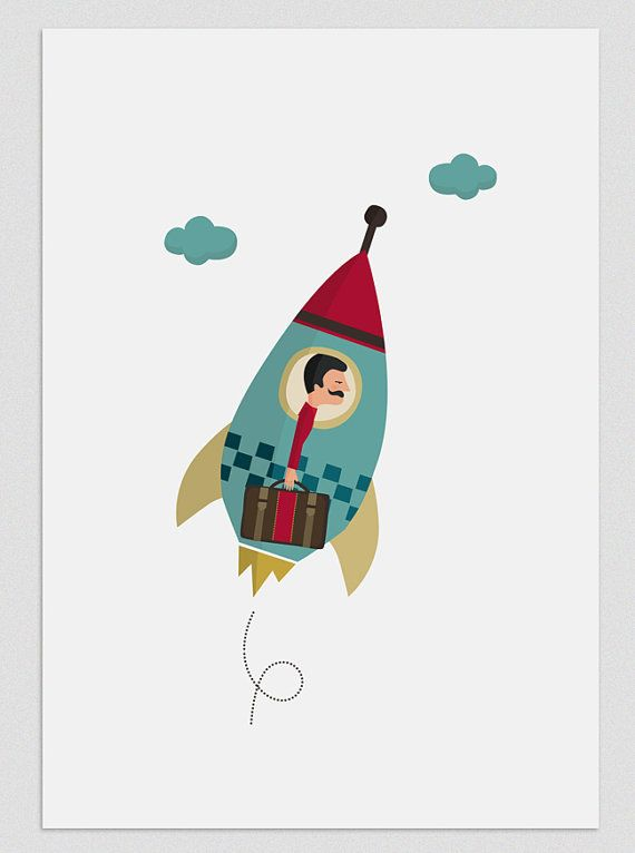 Illustration Rocket man by Tutticonfetti on Etsy, $20.00