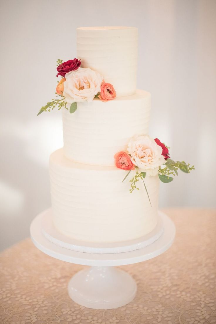 Autumn Colored Wedding in North Carolina- classic all-white wedding cake adorned with florals