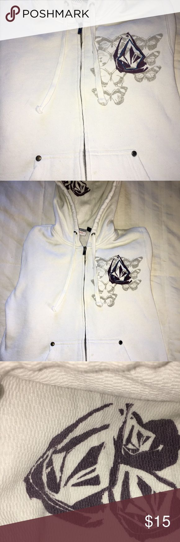 Women's Volcom Hoody zip-up w/butterfy print M So practical and fashionable, this cream colored Volcom zip up hoodie is perfect for layering.  Excellent pre-loved condition, smoke free. No stains nor issues.  Has a zip up front and studs on the two front slit pockets, embroidery on the back design for a 3-D effect, and print with in the thermal lined hood. Great buy! Volcom Tops Sweatshirts & Hoodies