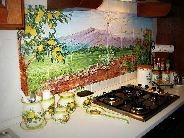 Top cucine in pietra lavica ceramizzata e decorata - Pietra lavica cucina ...