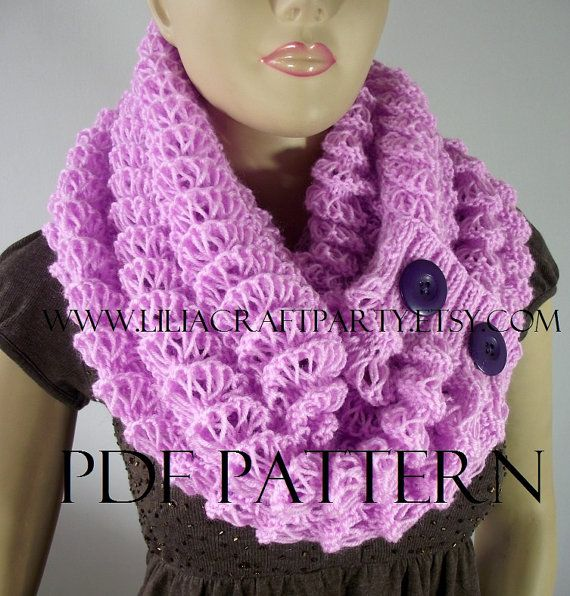 KNITTING PATTERN SCARF  Angel Wings Scarf Cowl  by LiliaCraftParty