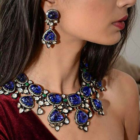 This Necklace Earring Set With Cabouchon Tanzanites And Rosecut Diamonds