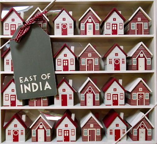 East of India Wooden Christmas Nordic Advent Village Calendar Houses Red Vintage   eBay