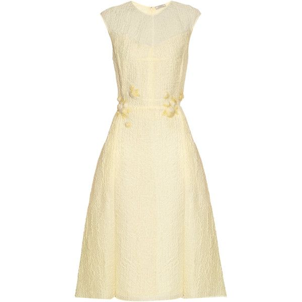 Nina Ricci Floral-embellished silk-blend cloqué dress ($1,279) ❤ liked on Polyvore featuring dresses, cocktail dresses, light yellow, beige dress, floral fit-and-flare dresses, beaded dress, embellished dress and sleeveless cocktail dress