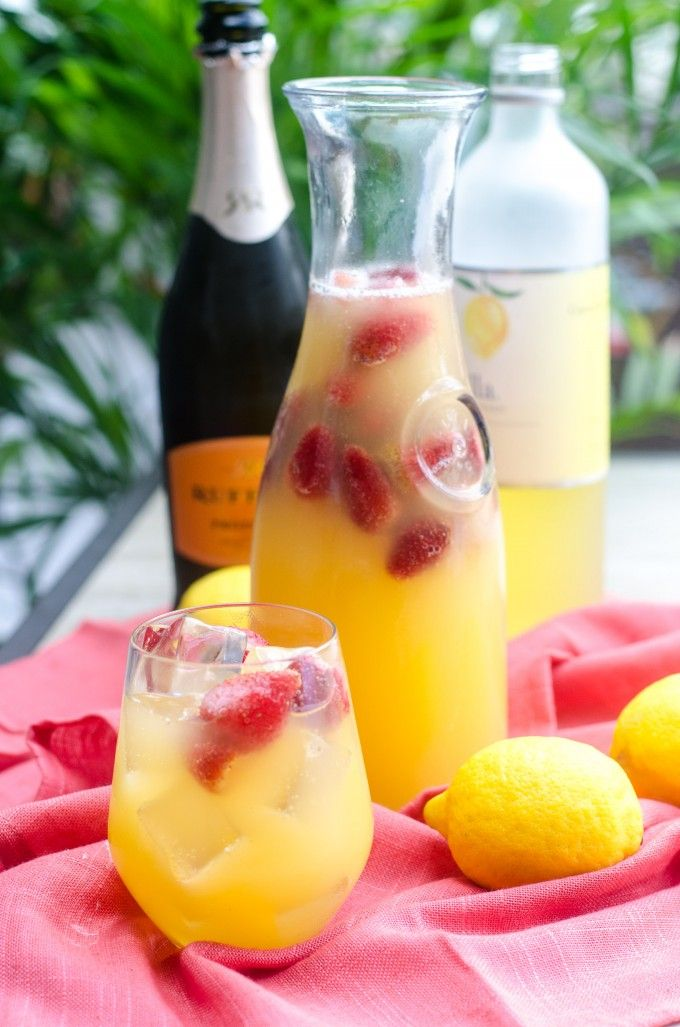 Champagne Limoncello Sangria ½ bottle prosecco, 1 cup orange-pineapple juice, 1½ cups limoncello, frozen whole strawberries and mango chunks