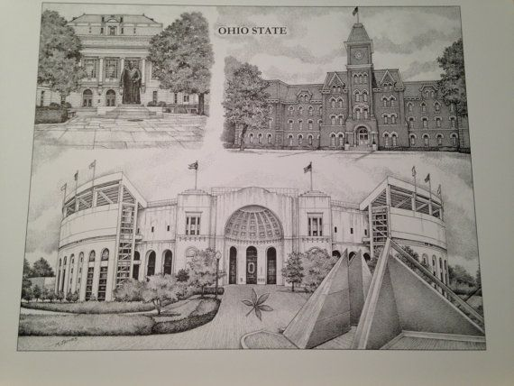 Ohio State University, Campus Scenes, 14x18 collage print drawn by artist Michael James using a technique called Pointillism or Stippling where the entire picture is made of dots.  Available in a Pen and Ink (Black and White) print.  $28