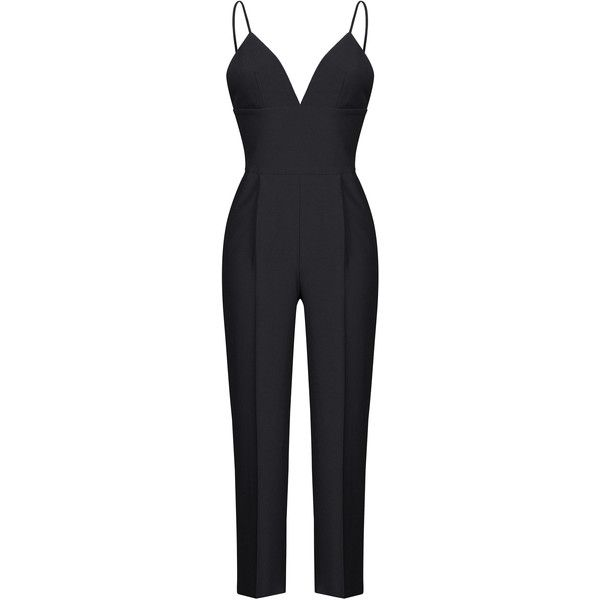 Rasario V-Neck Fitted Jumpsuit ($1,410) ❤ liked on Polyvore featuring jumpsuits, black, jump suit, fitted jumpsuit, v neck jumpsuit and fitted tops
