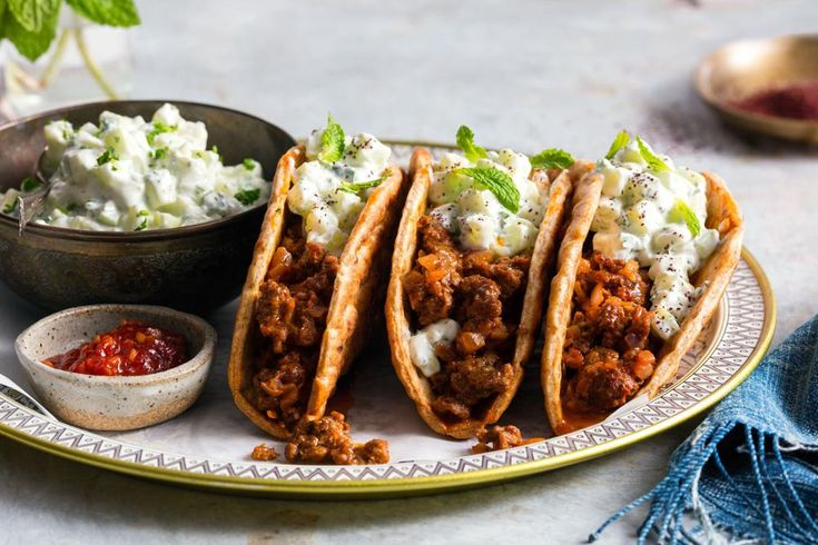 Lamb flatbreads with ras el hanout and tzatziki