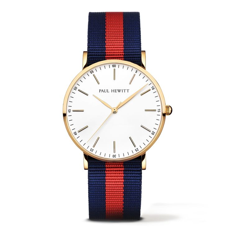 PAUL HEWITT Gold Line Watch Navy Blue-Red
