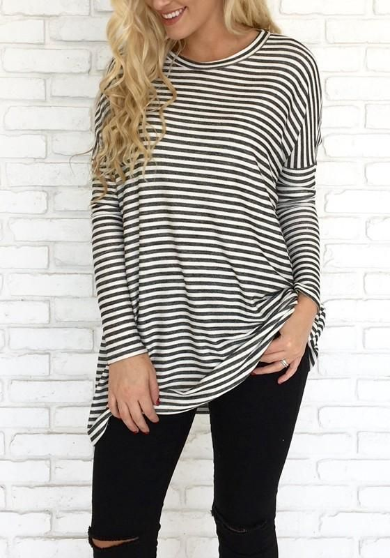 2a2e1cd14d9391 LoverMalls Black-White Striped Dolman Sleeve Long Sleeve Casual Oversized T- Shirt