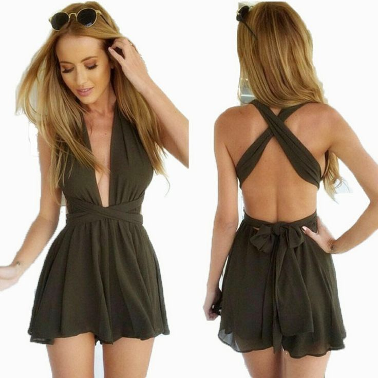 Cheap suit wear, Buy Quality wearing a pocket watch directly from China suit shorts Suppliers: 2016 Summer Beach Rompers Womens Jumpsuit Bandage Chiffon V Neck Backless Bodysuit Fashion Sexy Playsuits Macacao Female