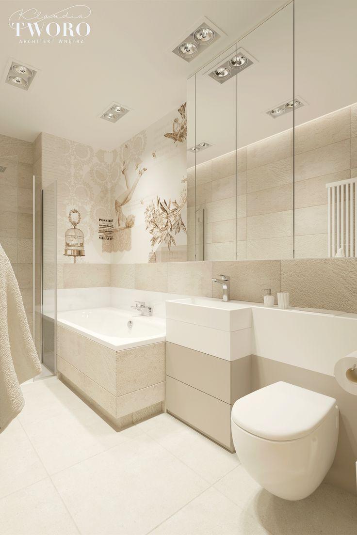 naturalna łazienka, beże, glamour