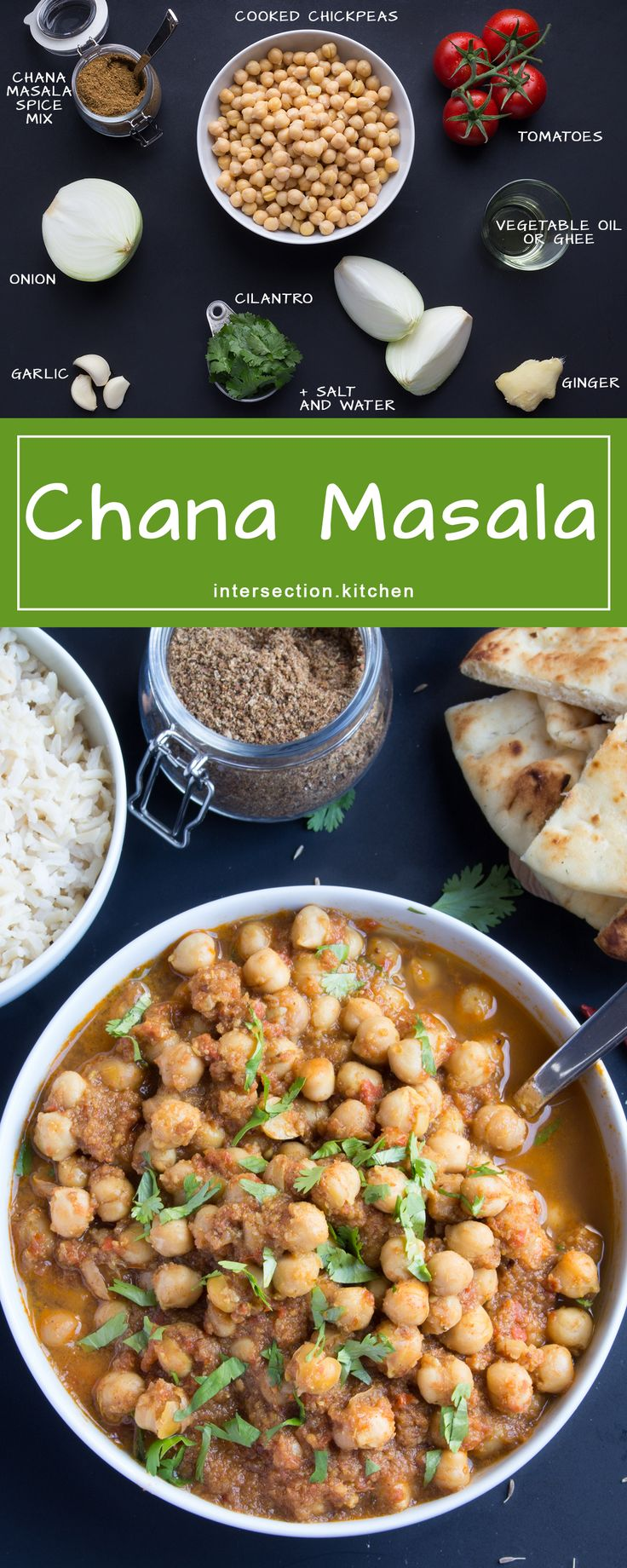 Chana Masala.  Easy and flavourful chickpea curry in less than an hour. #chana-masala #dinner #curry #chickpeas #vegan