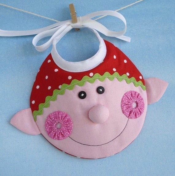 Navidad bebé babero costura patrón  Elf muñeco por preciouspatterns