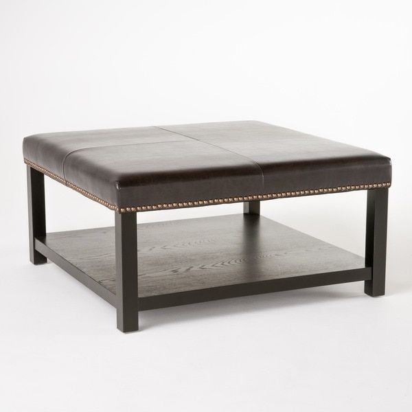 Avary Wood Square Storage Ottoman Table with Bottom Rack by Christopher Knight Home