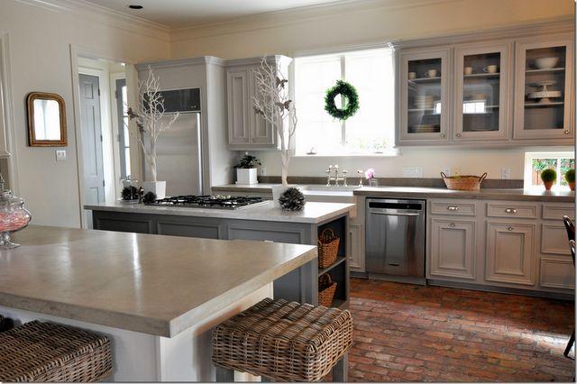 gray!: Brick Floors, Kitchens, Concrete Counter, Bricks, Kitchen Cabinets