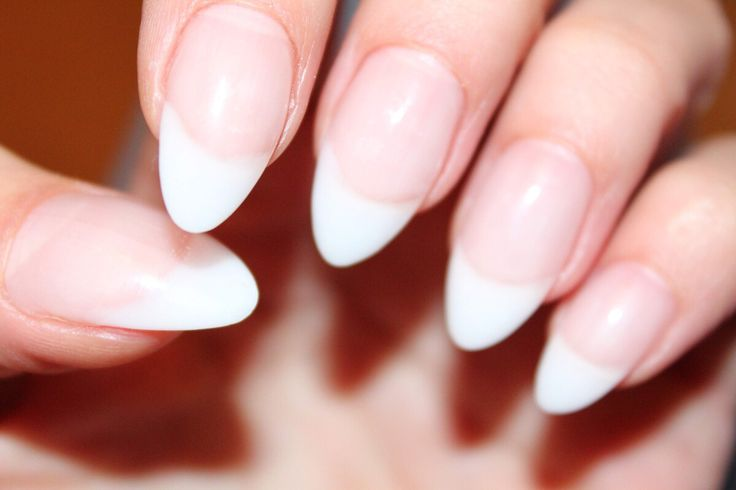 Short Almond Nails French Manicure Papillon Day Spa