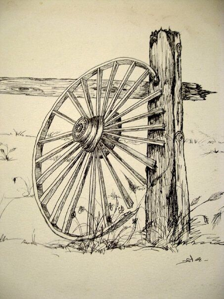 A Ink Sketch I Did Of A Wagon Wheel This Is A Close Up