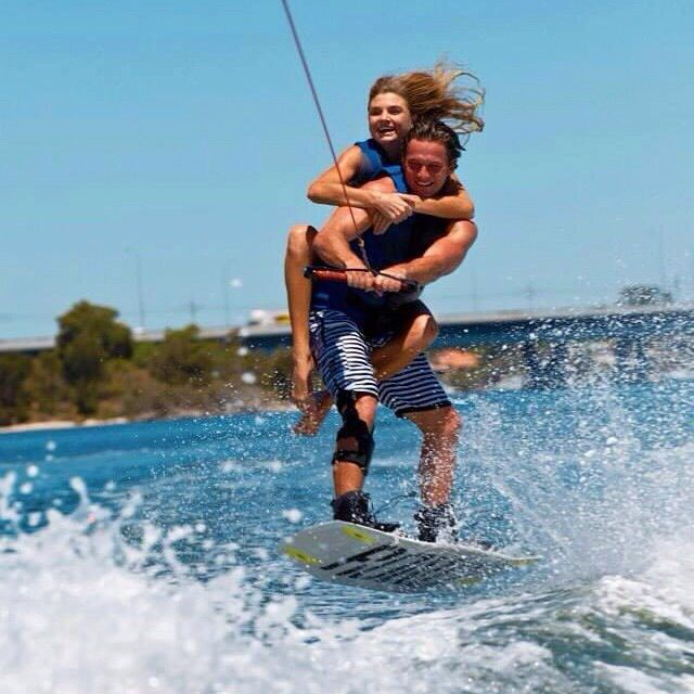 Great summer holiday snap wakeboarding with the boy.