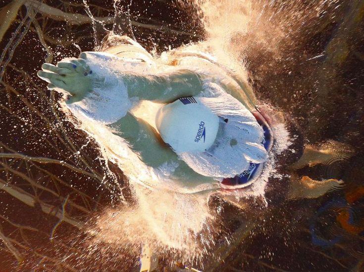 L'Américaine Katie Ledecky au départ des qualifications du 800 m nage libre, le 11 août.