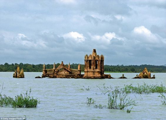 Holy Rosary Church at Karnataka, India, emerges and sinks beneath the waters every year since the construction of a dam in the area in 1960.: