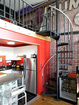 I love the spiral staircase loft.  Oh goodie!  This place is for sale!