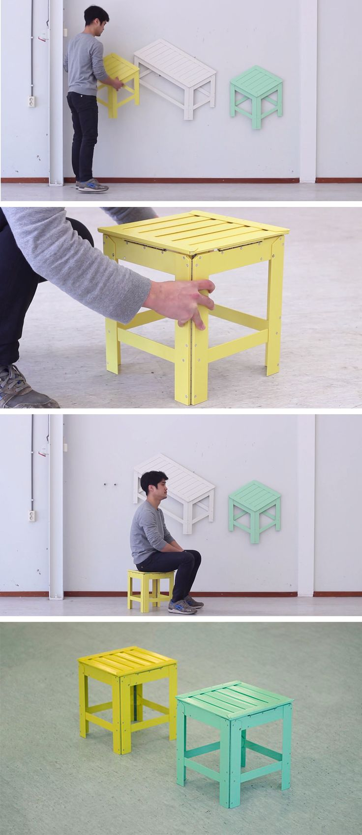 Collapsible Furniture That Transforms From Two to Three Dimensions Designed by Jongha Choi