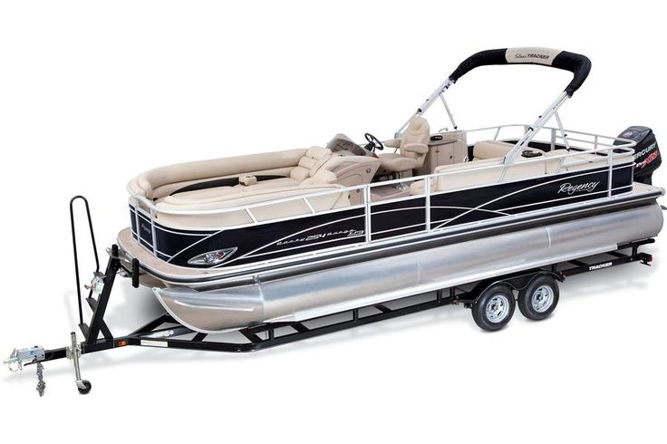 Factory-matched, custom trailer w/carpeted bunks http://www.exclusiveautomarine.com/product/party-barge-254-xp3