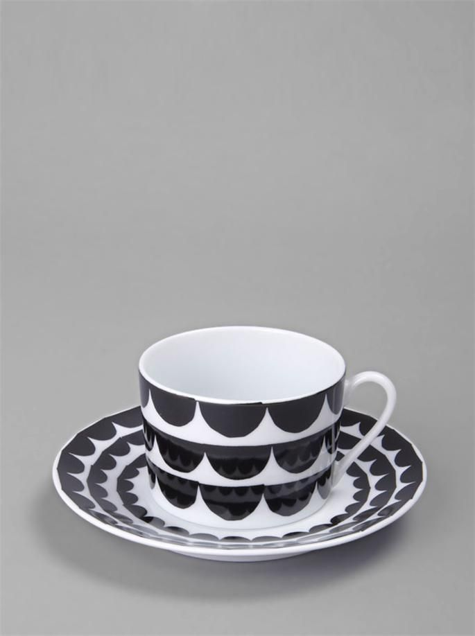 'Just My Cup of Tea' cup and saucer by House of Rym. 'Tu es la vague' pattern, French for 'You are the wave' designed by Swedish designer Anna Backlund.