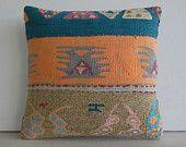 DECORATIVE PILLOW Decorative Throw Pillow Kilim Pillow Cover Turkish Cushion Case midcentury tapestry kelim country decor Oceanside orange