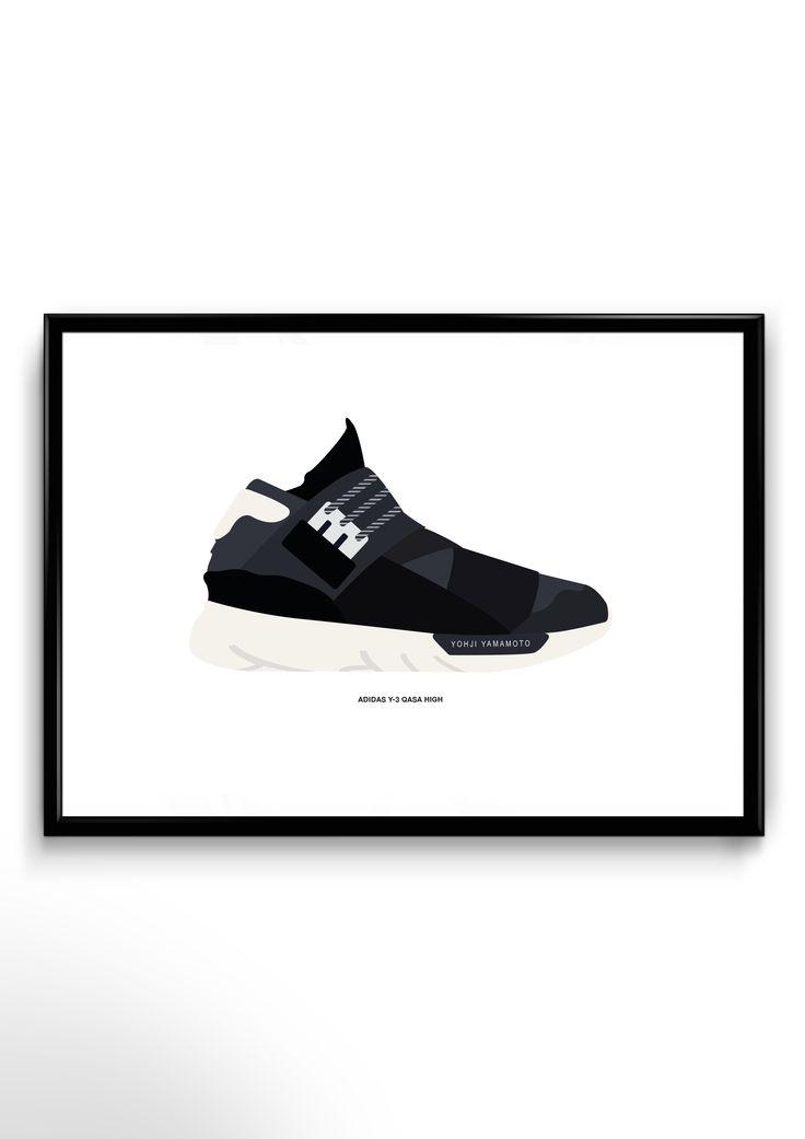 Adidas y-3 qasa high. Den meget populære adidassko, designet af Yoshi Tamamoto er nu at finde på plakat, i et designsamarbejde mellem Hypetrade og Etableret. Plakaterne kommer i et begrænset antal på 15 stk. pr. plakat, og der bliver herefter ikke produceret flere. Plakaterne kommer med en sort ramme. Skoplakaterne kommer i noget der ligner rammestørrelser, men er beskrevet i mål for præcisionens skyld. 20x30 cm. (A4)