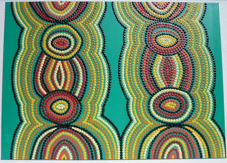 Tableau vert meraudes motifs couleurs d 39 afrique inspirations aborig ne - Tableau ethnique contemporain ...