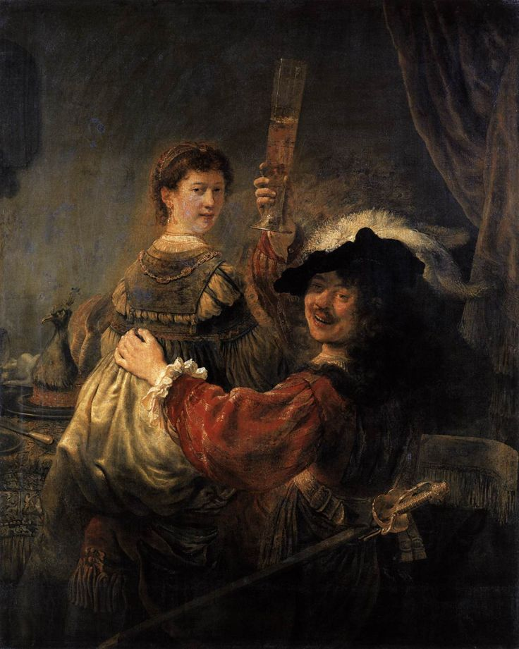 Rembrandt and Saskia in the Scene of the Prodigal Son in the Tavern by Rembrandt Date: 1635